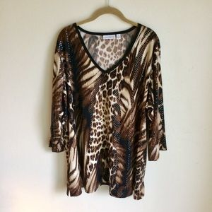 Susan Graver Sequin Evening Top Animal Print Sz 3X